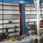 Aluminum davit that was constructed to be light and removable for a small research vessel.
