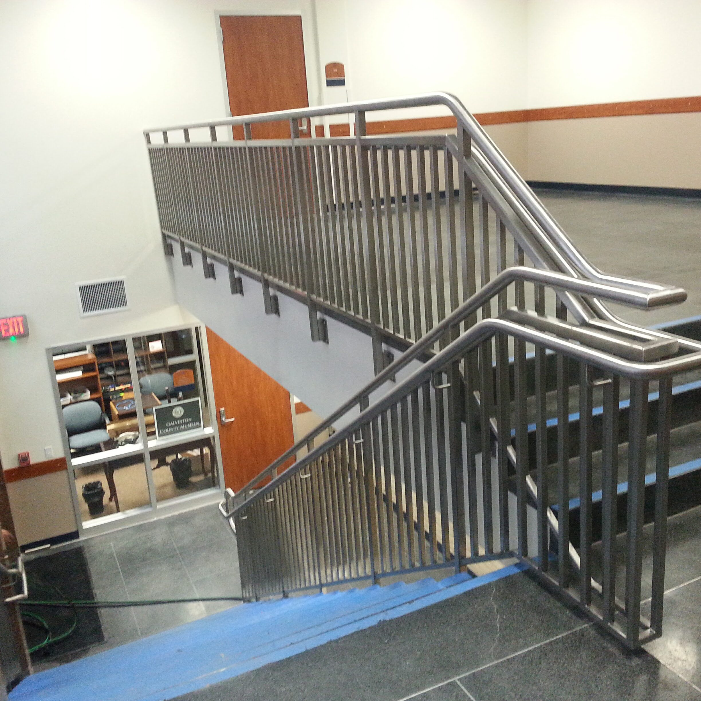 Stainless handrail installed in the Galveston County building.